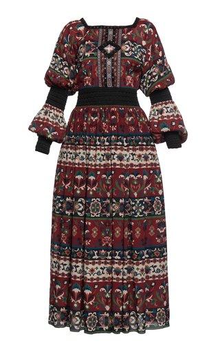 Folk Art Cutout-Detailed Printed Jersey Midi Dress