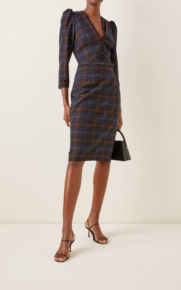 Kate Checked Wool-Blend Midi Dress