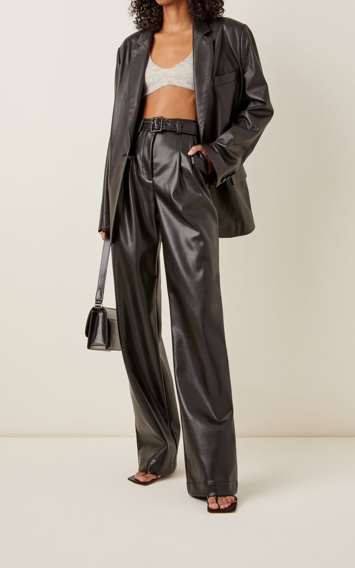 Delaney Vegan-Leather Wide-Leg Pants