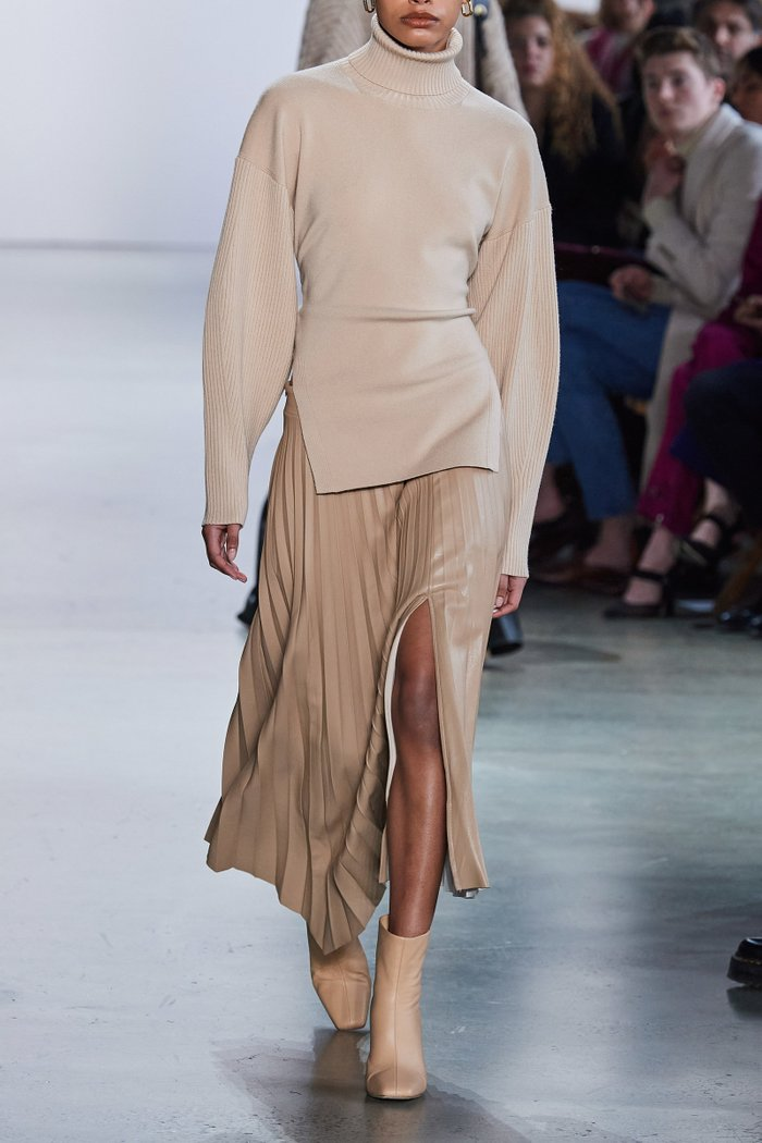 Jayla Pleated Vegan-Leather Skirt