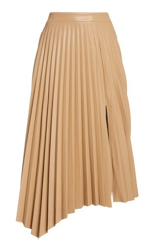 Jayla Pleated Vegan-Leather Skirt