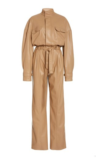 Katerine Vegan-Leather Utility Jumpsuit