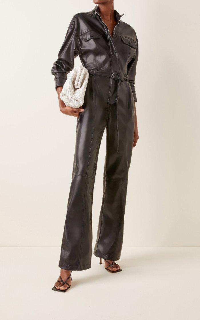 Katerine Vegan-Leather Utility Jumpsuit