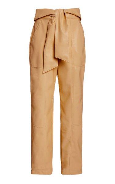 Tessa Vegan-Leather Cropped Pants