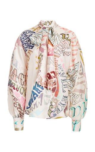 Ladybeetle Printed Silk Tie-Neck Top
