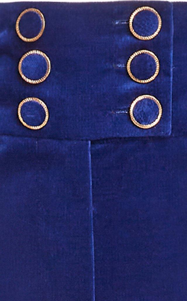 Ladybeetle Cotton Velvet Flared-Leg Trousers