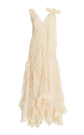 Charm Star Ruffled Silk Slip Dress