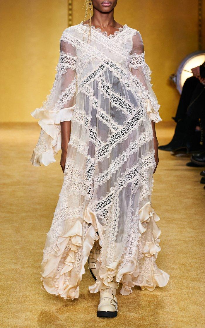 Charm Star Ruffled Silk Maxi Dress
