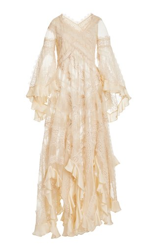 Charm Star Ruffled Silk Maxi Dress