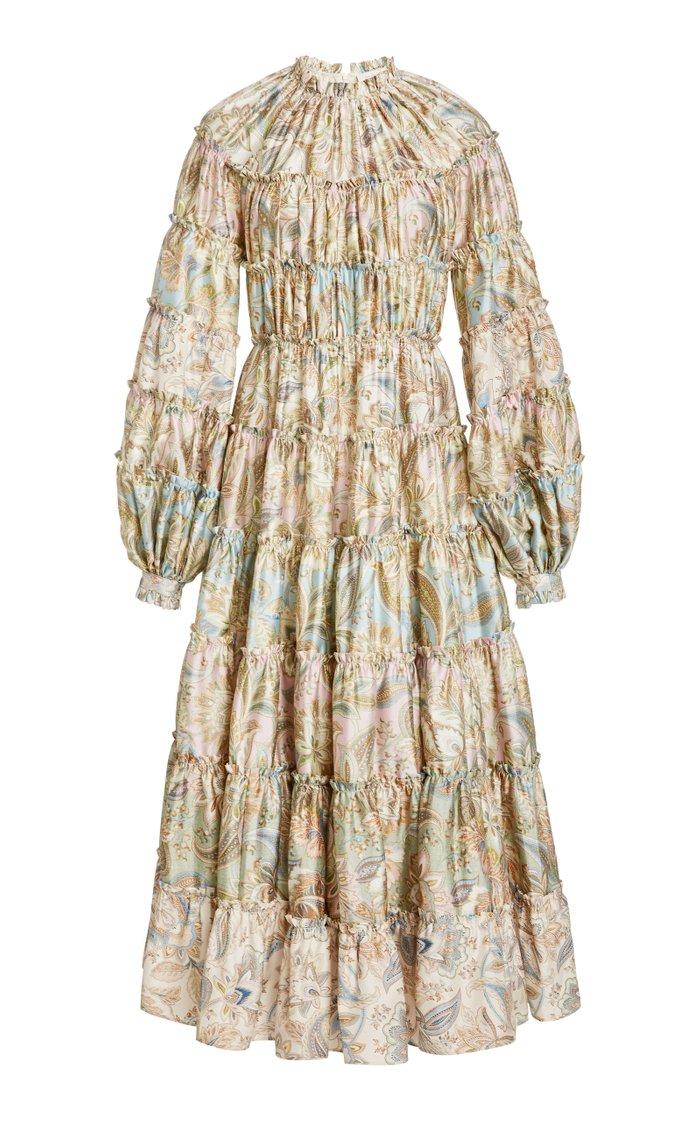 Ladybeetle Tiered Paisley Wool-Silk Midi Dress