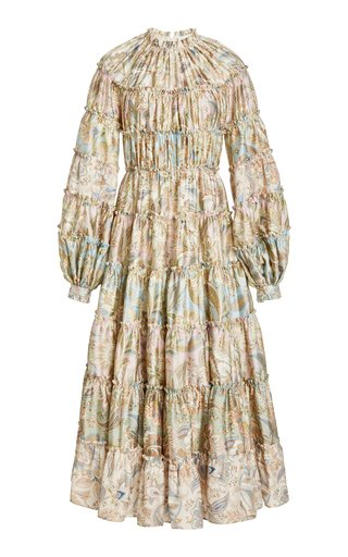 Ladybeetle Tiered Paisley Wool-Silk Midi Dress