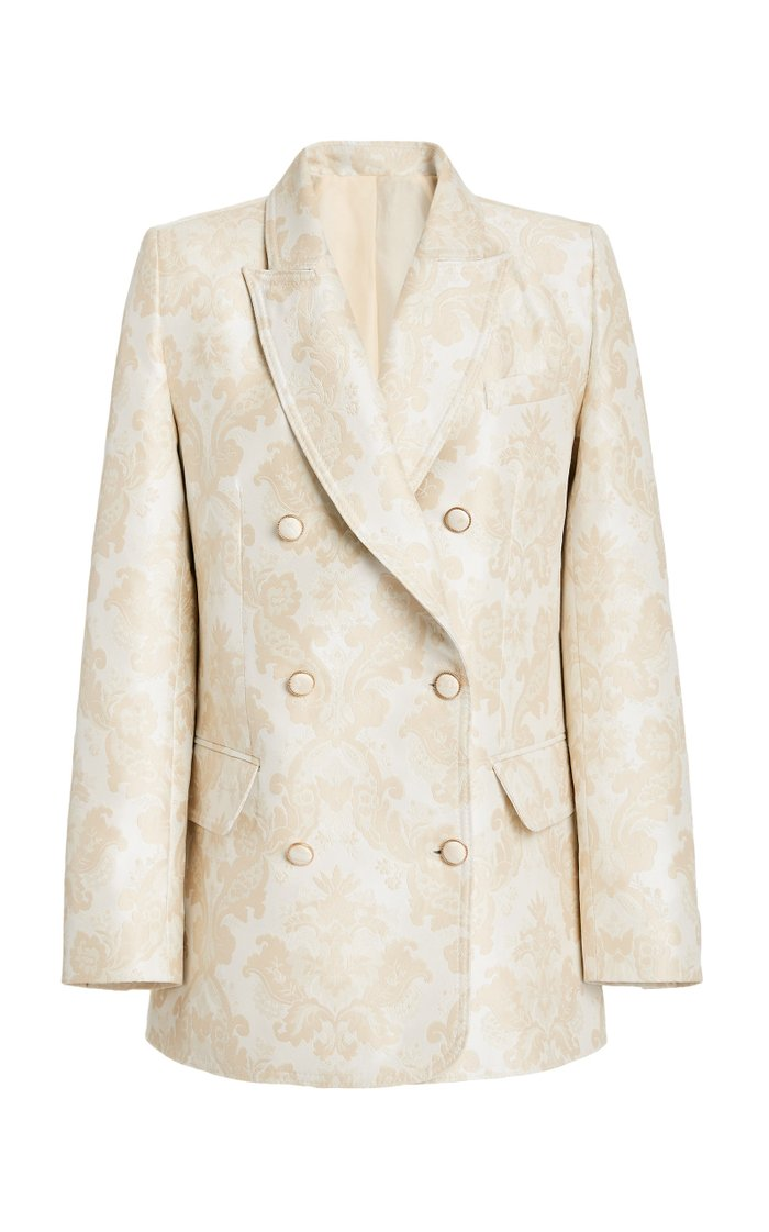 Charm Double-Breasted Crepe Blazer