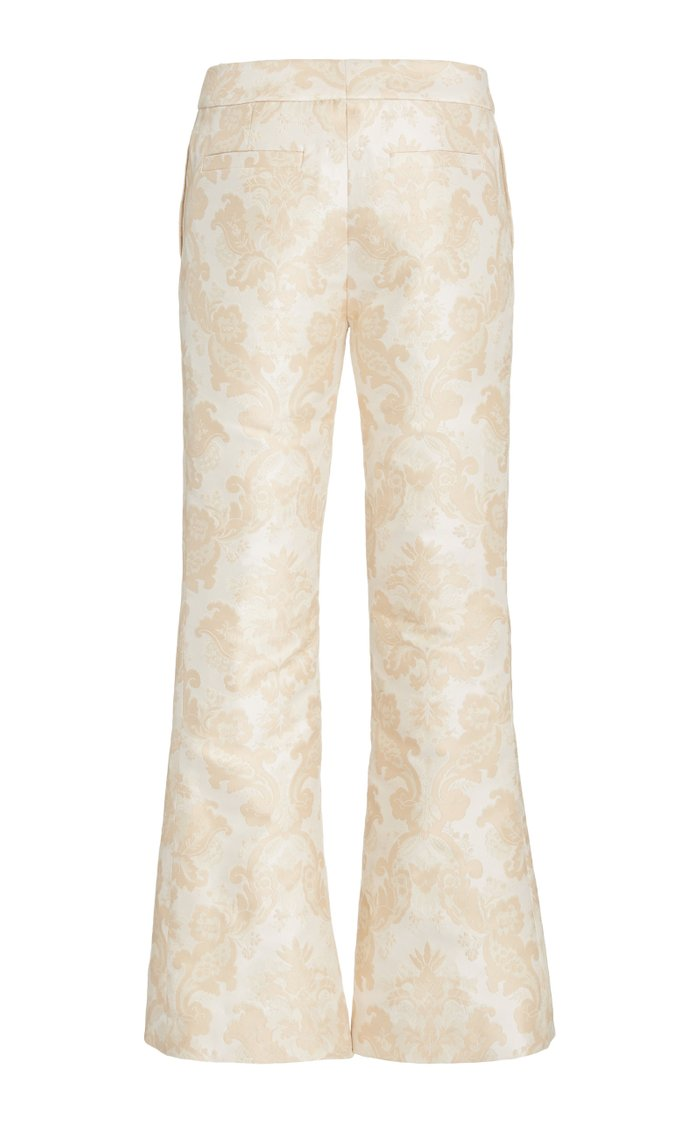 Charm Crepe-Brocade Flare Pants