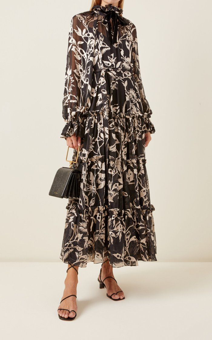 Ladybeetle Floral Silk Tie-Neck Maxi Dress