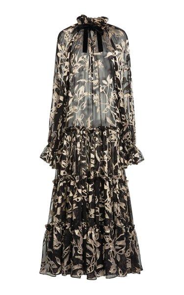 Ladybeetle Floral Silk Tie-Neck Maxi Dress
