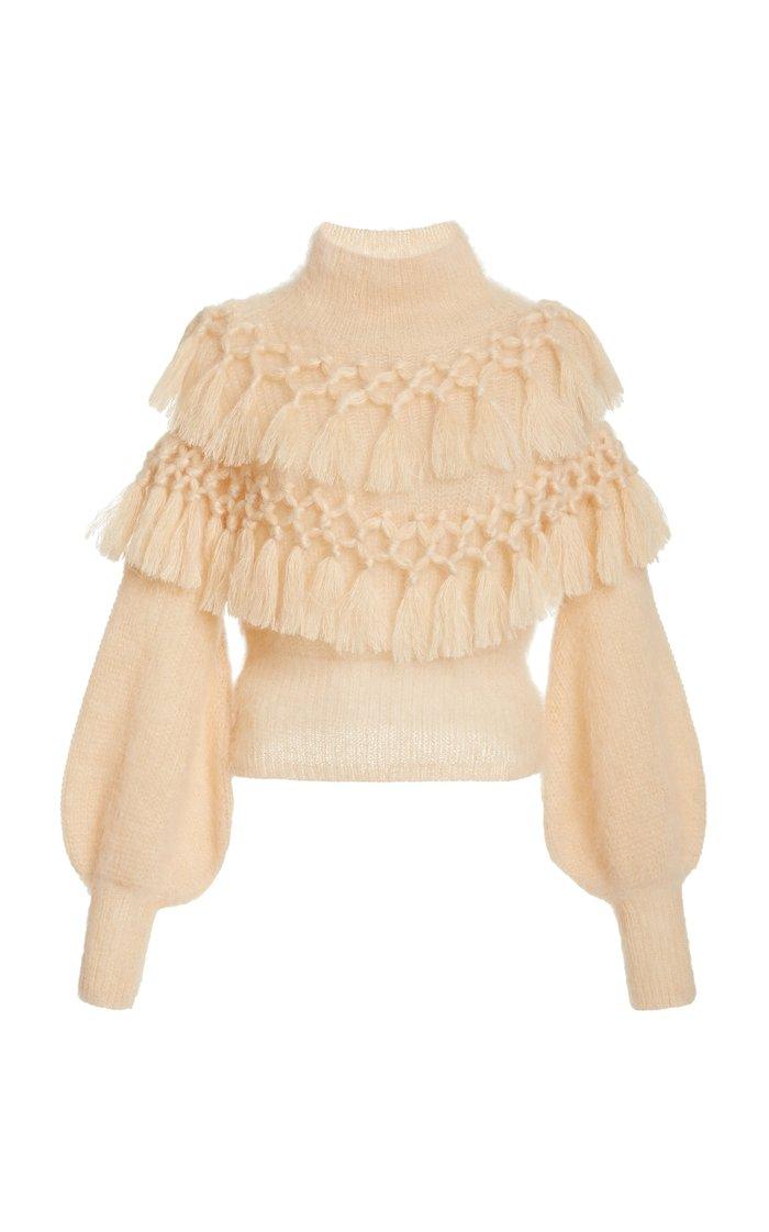 Ladybeetle Tassel-Trimmed Mohair-Silk Sweater