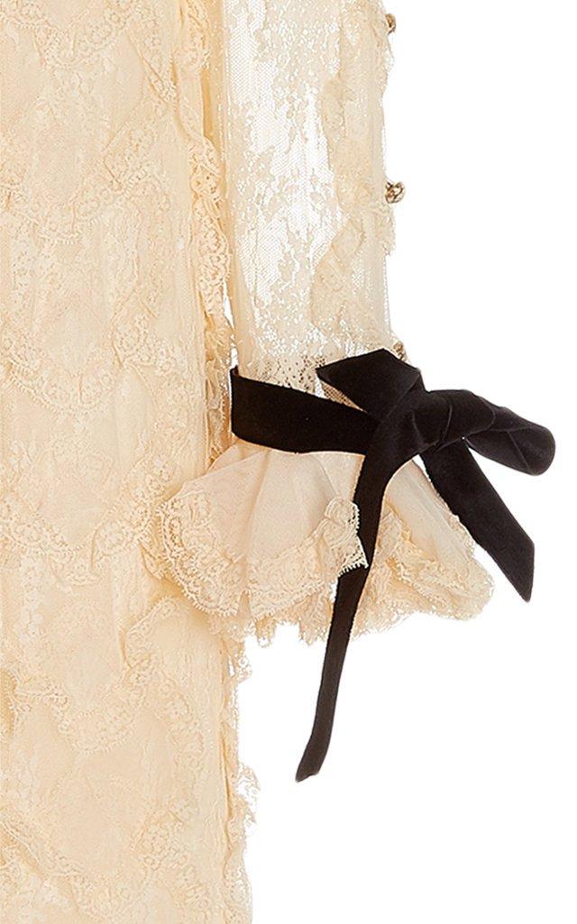 Lucky Ruffled Cotton-Blend Lace Maxi Dress