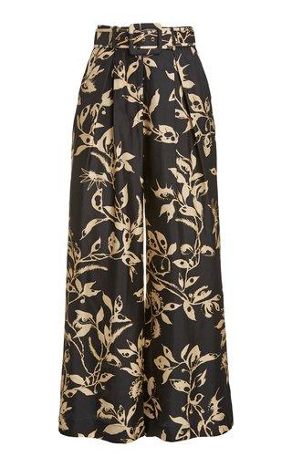 Ladybeetle Belted Printed Silk Wide-Leg Pants