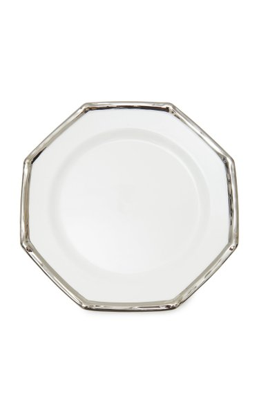 Set-Of-Four Bamboo-Trimmed Ceramic Dinner Plates
