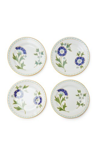 Set-of-Four Printed Ceramic Dessert Plates