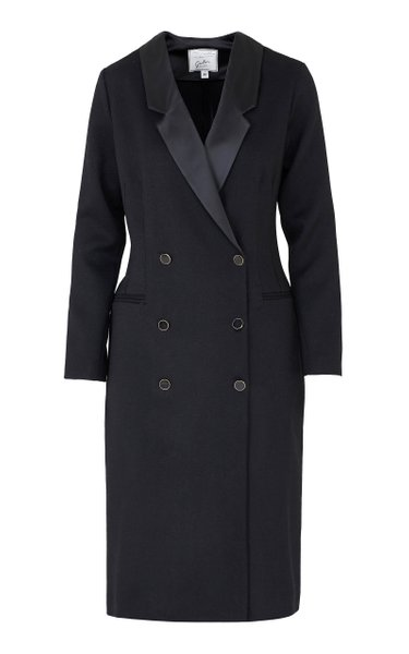 The Clotilde Satin-Trimmed Wool Double-Breasted Blazer Dress