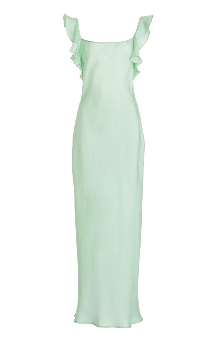 Cover Girl Ruffled Silk-Satin Maxi Dress