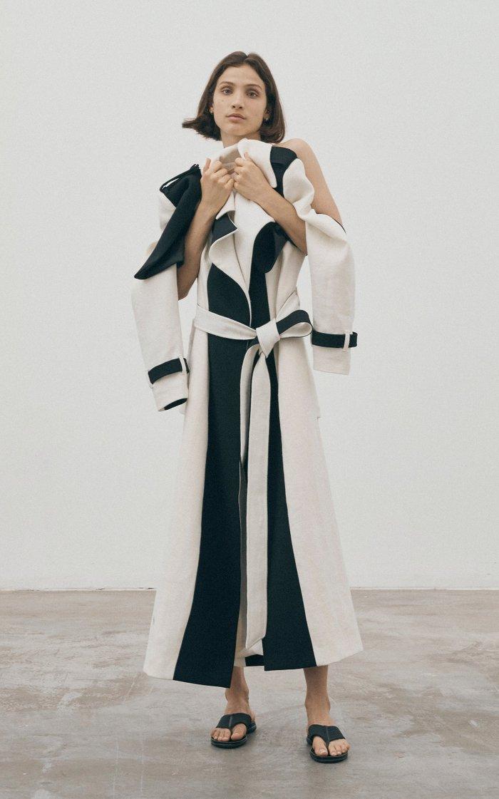 Call Me Cruella De Vil Belted Color-Block Linen Trench Coat