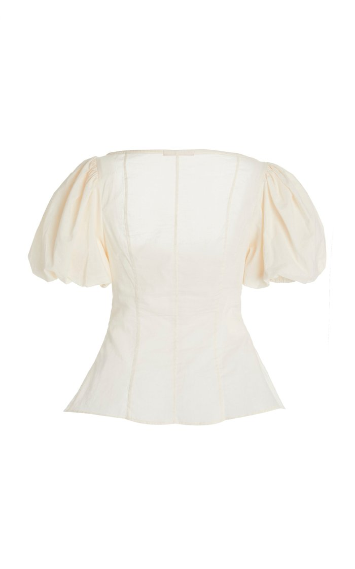 Picking Daisies Ruched Cotton-Poplin Top
