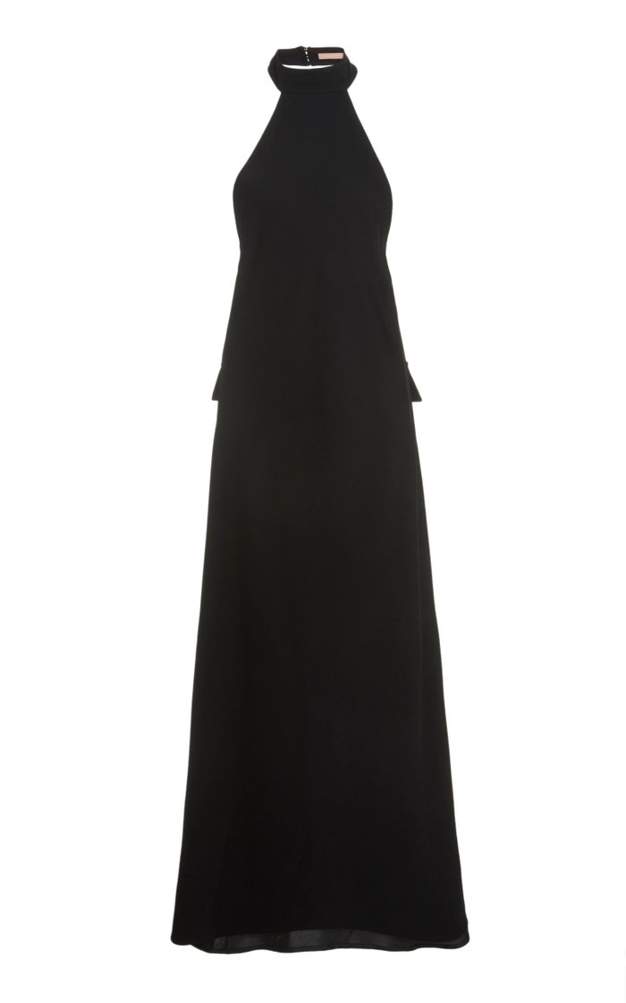 Fate Has Bought Us Here Halterneck Crepe Maxi Dress