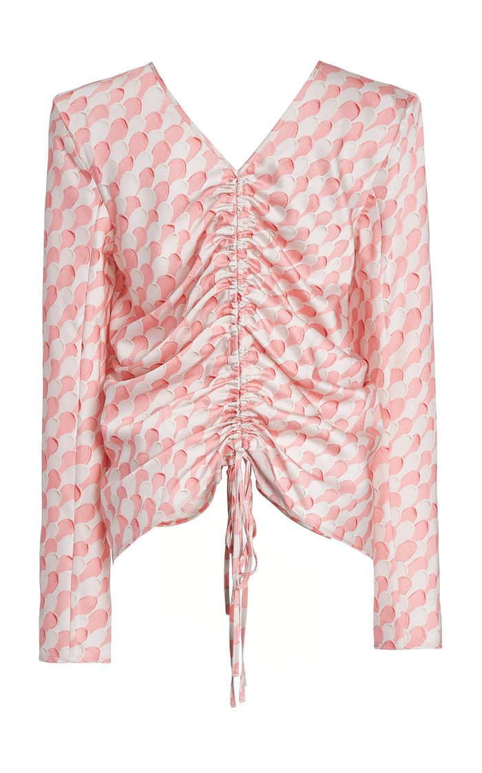 Drawn To Me Ruched Printed Satin Top