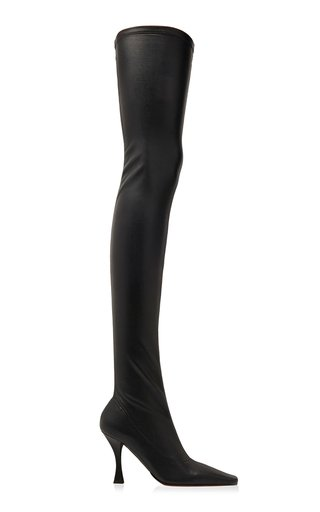 Faux Leather Stretch Thigh-High Boots