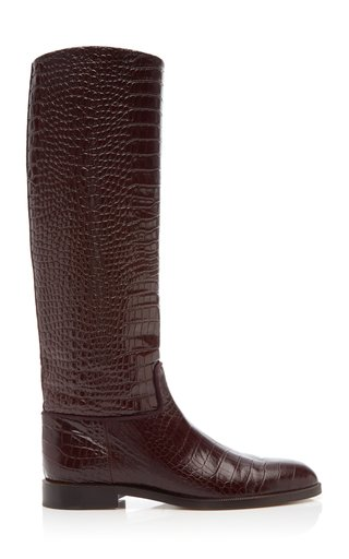 Croc-Effect Leather Riding Boots