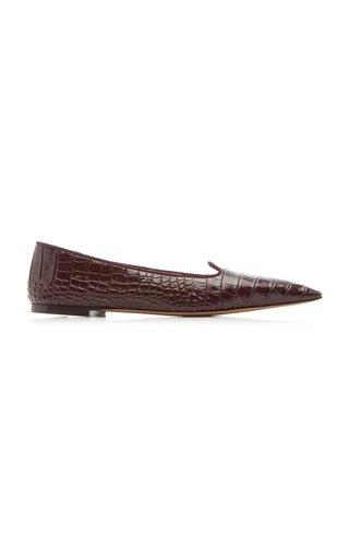 Croc-Effect Leather Ballet Flats