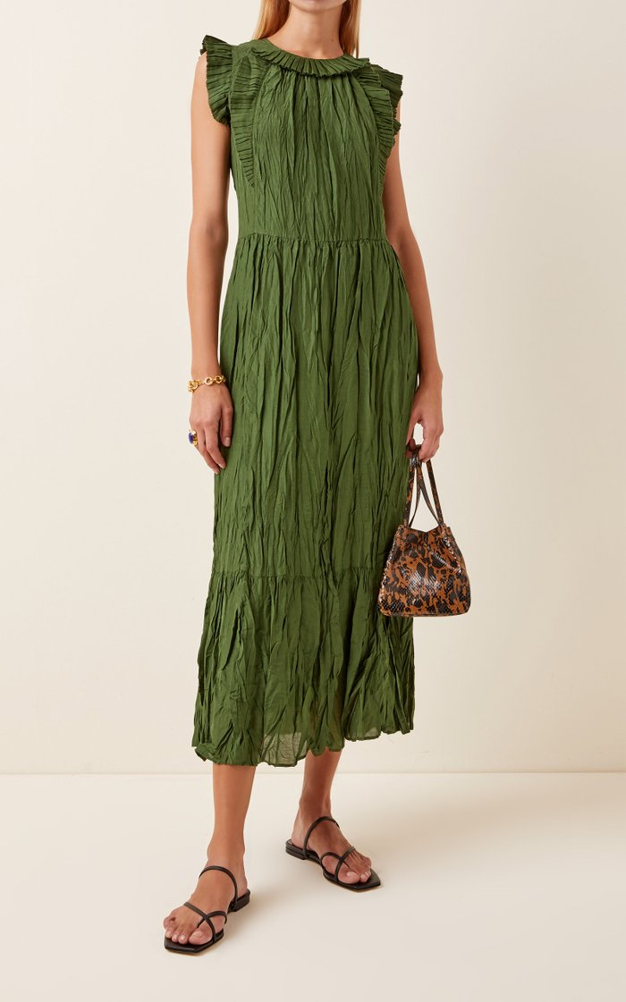 Tessa Ruffled Crinkled-Taffeta Maxi Dress
