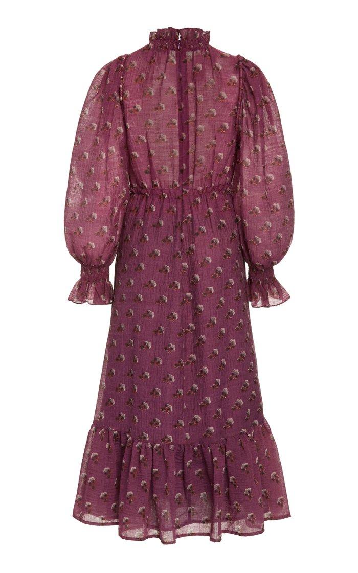 Alexis Printed Ruffled Wool-Blend Maxi Dress