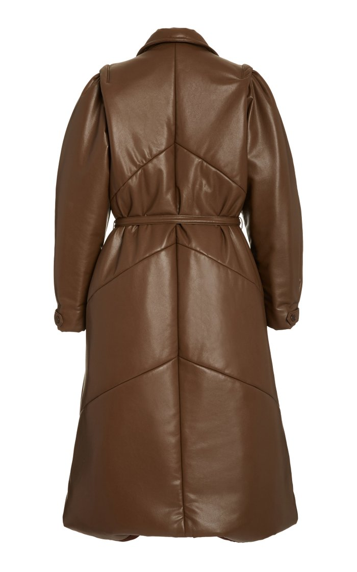 Quilted Belted Vegan Leather Coat
