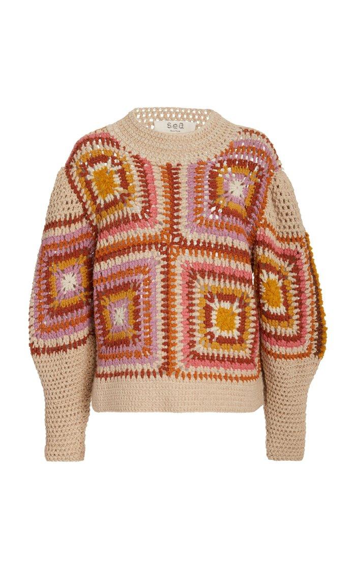 Farrah Crocheted Wool Sweater
