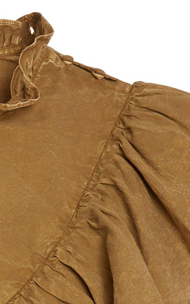 Metta Acid Wash Long Sleeve Ruffle Top