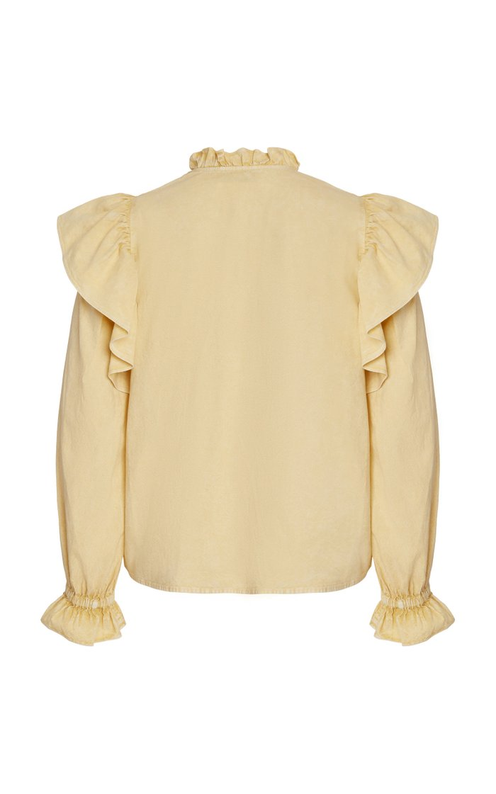 Metta Acid Wash Long Sleeve Ruffle Top