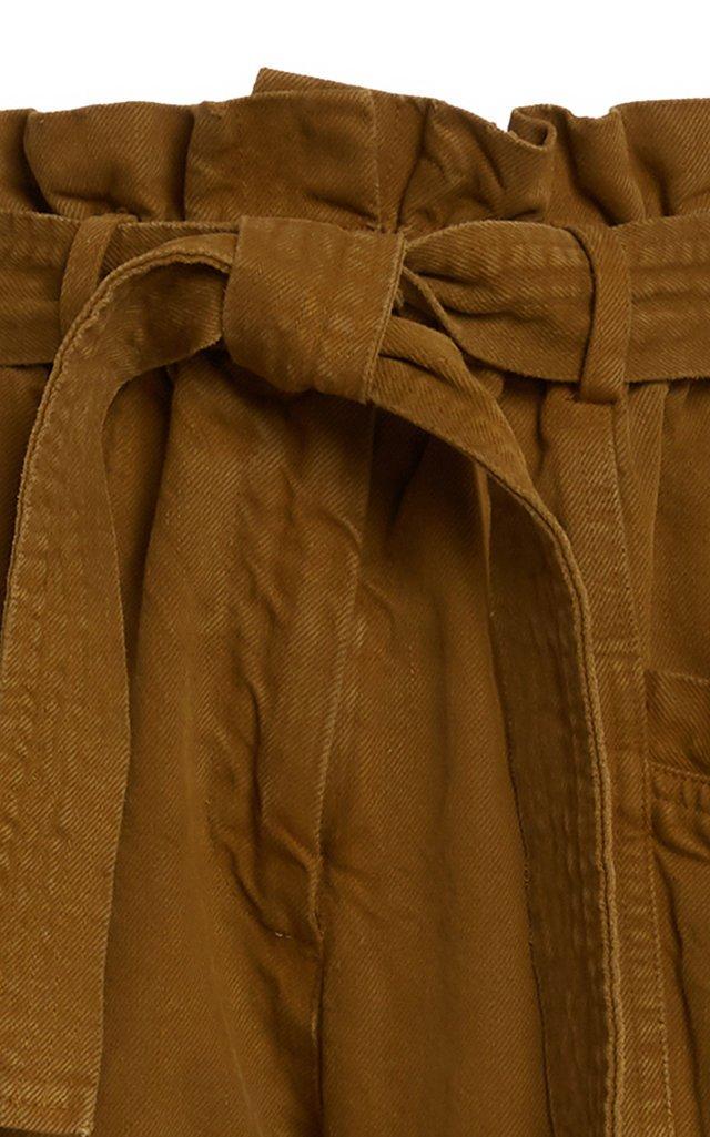 Metta Belted Cotton-Twill Straight-Leg Pants