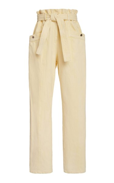 Metta Belted Cotton-Twill Straight-Leg Pants
