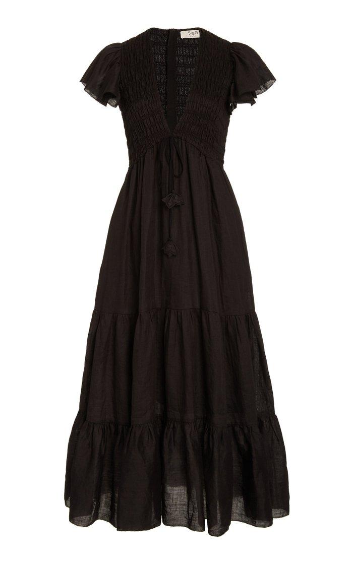 Zig Zag Smocked Tiered Cotton-Gauze Maxi Dress