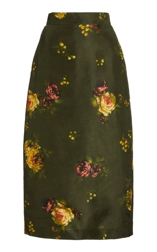 Rabbit Floral-Print Silk Skirt