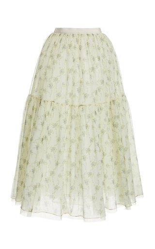 Roulette Floral-Print Silk Skirt