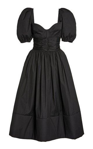 Rosette Puffed-Sleeve Cotton A-Line Dress