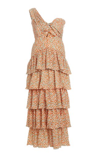 Escape Printed One-Shoulder Crepe Dress