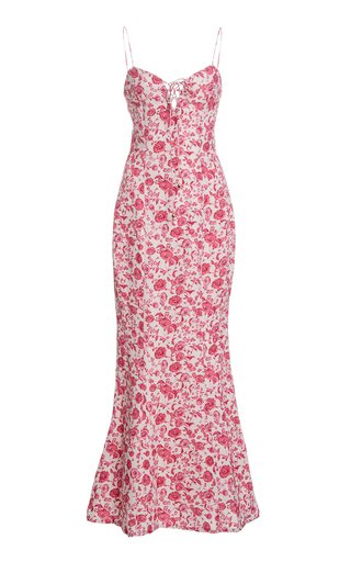 Orchid Floral-Print Linen-Blend Dress