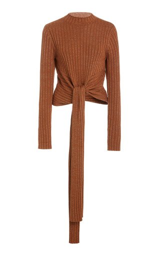 Goldie Draped Ribbed-Knit Top