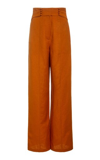 Orchid High-Rise Flared Linen-Blend Pants