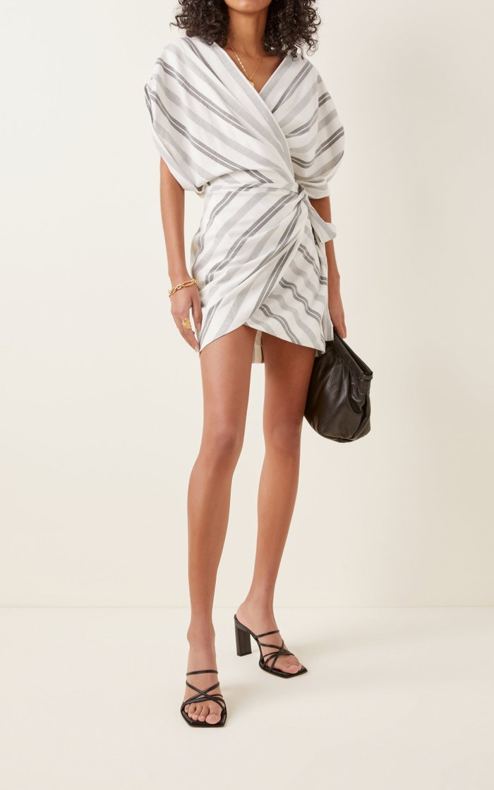 Arcadia Striped Wrap-Effect Woven Mini Dress
